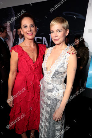 Kelly Marcel, Writer, and Michelle Williams at Columbia Pictures' VENOM World Premiere at the Regency Village Theater