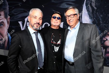 Matt Tolmach, Producer, Avi Arad, Producer, and Tony Vinciquerra, Chairman and Chief Executive Officer, at Columbia Pictures' VENOM World Premiere at the Regency Village Theater