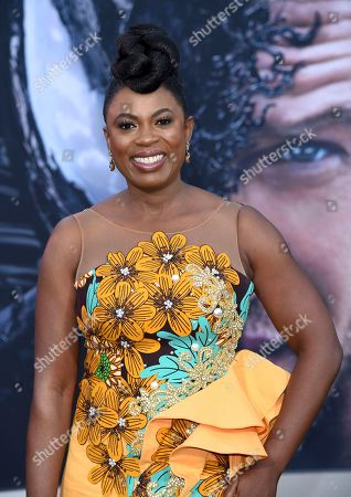 "Sope Aluko arrives at the world premiere of ""Venom"", at the Regency Village Theater in Los Angeles"