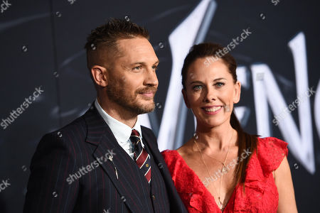 Stock Image of Tom Hardy and Kelly Marcel, Writer, at Columbia Pictures' VENOM World Premiere at the Regency Village Theater