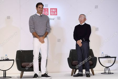 Roger Federer with Japan's fast fashion giant Uniqlo president Tadashi Yanai