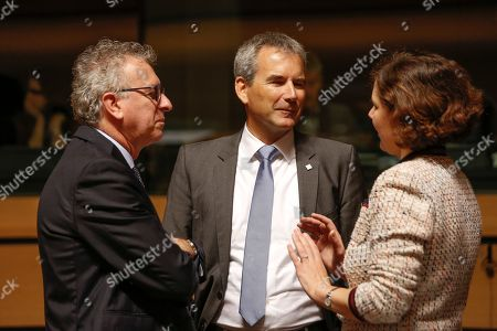 (L-R) Luxembourg's Finance Minister Pierre Gramegna, Austrian Finance Minister Hartwig Loeger and Latvian Finance Minister Dana Reizniece-Ozola, at the start of the Ecofin finance Ministers meeting in Luxembourg, 02 October 2018. Ministers will hear a presentation by the Commission of its proposal to further strengthen the supervision of EU financial institutions as regards money-laundering and terrorist financing threats.