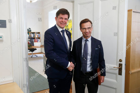 Swedish Speaker of Parliament Andreas Norlen (R) meets Swedish Moderat Party leader Ulf Kristersson at the Parliament in Stockholm, Sweden, 02 October 2018. All party leaders will meet with the Speaker of Parliament who will then decide who to nominate for Prime Minister. No party received enough votes in the 09 September 2018 elections to form a majority government.