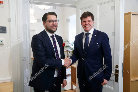 Swedish Swedendemocrats party leader Jimmie Akesson (L) meets Swedish Speaker of Parliament Andreas Norlen (R) meets at the Parliament in Stockholm, Sweden, 02 October 2018. All party leaders will meet with the Speaker of Parliament who will then decide who to nominate for Prime Minister. No party received enough votes in the 09 September 2018 elections to form a majority government.