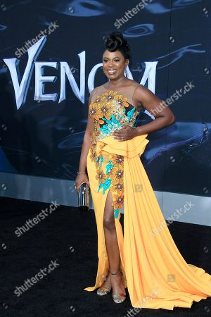 US actress/cast member Sope Aluko arrives for the premiere of Columbia Pictures' 'Venom' at the Regency Village Theater in Westwood, Los Angeles, California, USA, 01 October 2018 (issued 02 October 2018). The movie opens in the US on 05 October 2018.