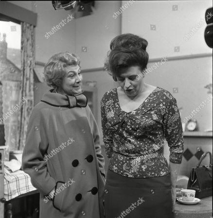 Betty Alberge (as Florrie Lindley) and Pat Phoenix (as Elsie Tanner)