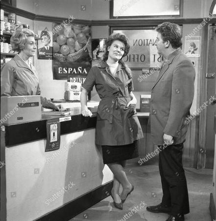 Betty Alberge (as Florrie Lindley), Sandra Gough (as Irma Ogden) and Peter Adamson (as Len Fairclough)