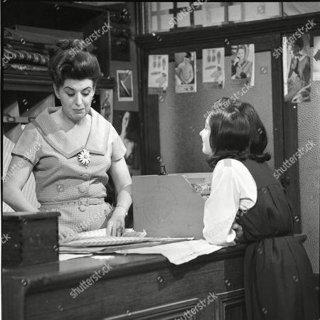 Pat Phoenix (as Elsie Tanner) and Jennifer Moss (as Lucille Hewitt)