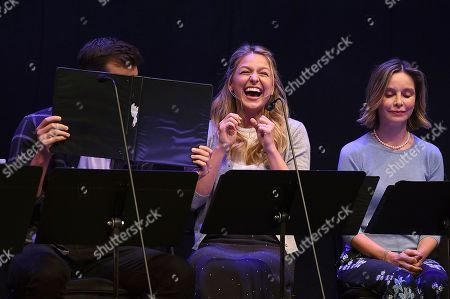 Chris Wood, Melissa Benoist, Calista Flockhart. Chris Wood, from left, Melissa Benoist and Calista Flockhart perform at the one night only Terms of Endearment reading benefitting Stand Up To Cancer and Geffen Playhouse on Monday, Oct.1, 2018, in Los Angeles