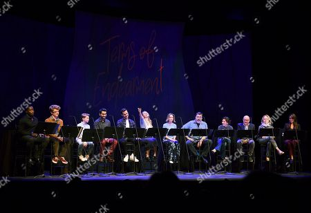 Stock Image of Daniel Beaty, Jake Brennan, Ethan Jones, Kumail Nanjiani, Chris Wood, Melissa Benoist, Calista Flockhart, Alfred Molina, Constance Wu, Willie Garson, Kate Burton, Italia Ricci. Daniel Beaty, from left, Jake Brennan, Ethan Jones, Kumail Nanjiani, Chris Wood, Melissa Benoist, Calista Flockhart, Alfred Molina, Constance Wu, Willie Garson, Kate Burton and Italia Ricci perform at the one night only Terms of Endearment reading benefitting Stand Up To Cancer and Geffen Playhouse on Monday, Oct.1, 2018, in Los Angeles