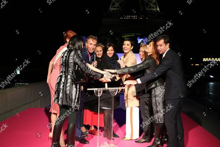 Chantal Thomass, Miss France, Maeva Coucke, the President-Estee Lauder; Jean-Christophe Jourde, Caroline Roux, Anne Hidalgo, Cristina Cordula and guest