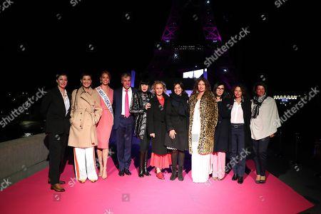 Marie-Agnes Gillot, Cristina Cordula, Miss France, Maeva Coucke, the President-Estee Lauder; Jean-Christophe Jourde, Chantal Thomass, Caroline Roux, Anne Hidalgo, Brigitte, Karine Tuil, Marielle Fournier