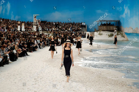 Stock Picture of Italian model Greta Varlese (front) presents a creation from the Spring/Summer 2019 Women's collection by German designer Karl Lagerfeld for Chanel at the Grand Palais during the Paris Fashion Week, in Paris, France, 02 October 2018. The presentation of the Women's collections runs from 24 September to 02 October.