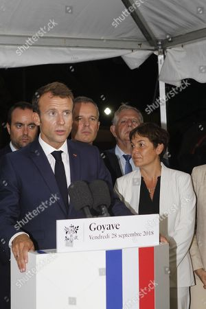 French President Emmanuel Macron with Overseas Minister Annick Girardin, Minister for the Ecological and Inclusive Transition Francois de Rugy, Minister for Solidarity and Health Agnes Buzyn and Minister for the Territorial Cohesion Jacques Mezard visit in Goyave, Guadeloupe, one year after Hurricane Maria damaged the Island, as part of a four-day visit to the French Antilles (west indies), Guadeloupe