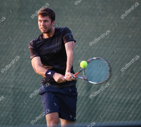 Stock Picture of Gb Tennis Player Oliver Golding Playing At The Roehampton Tennis Academy.
