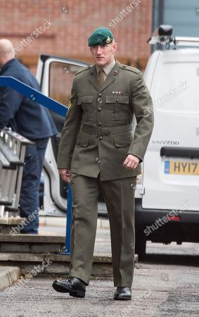 Editorial image of Danny Foster . Royal Marine Corporal Danny Foster One Of Three Defendants Appearing At A Court Martial Hearing In Portsmouth Charged With Various Counts Of Ill Treatment Of Subordinates. Picture David Parker 25.09.17.