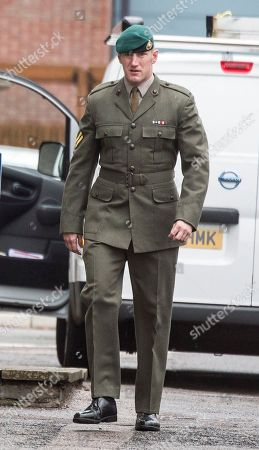 Stock Photo of Danny Foster . Royal Marine Corporal Danny Foster One Of Three Defendants Appearing At A Court Martial Hearing In Portsmouth Charged With Various Counts Of Ill Treatment Of Subordinates. 25.09.17.