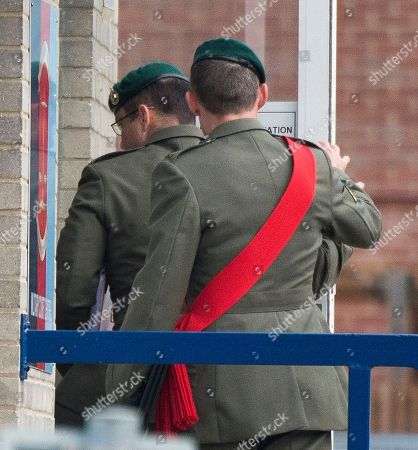 Stock Picture of Danny Foster. Royal Marine Corporal Philip Rees Beer 34 (glasses) One Of Three Defendants Appearing At A Court Martial Hearing In Portsmouth Charged With Various Counts Of Ill Treatment Of Subordinates. 26.09.17.