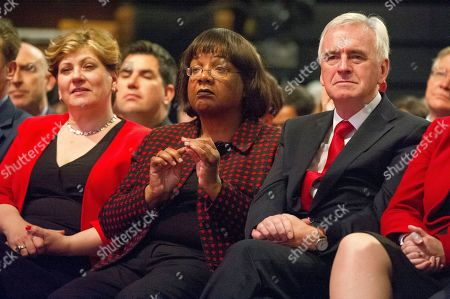 Jeremy Corbyn's Speech On The Final Day Of Labour Party Conference In Brighton. Pic Shows (l-r):- Emily Thornbury Dianne Abbot And John Mcdonnell.