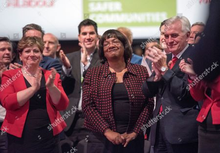 Jeremy Corbyn's Speech On The Final Day Of Labour Party Conference In Brighton. Shadow Cabinet Including John Mcdonnell Emily Thornbury Dianne Abbott And Jonathan Ashworth.