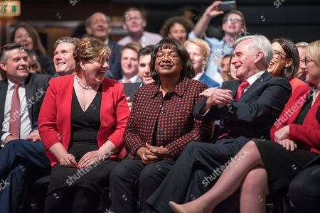 Jeremy Corbyn's Speech On The Final Day Of Labour Party Conference In Brighton. Shadow Cabinet Including (l-r):- Emily Thornbury Dianne Abbott And John Mcdonnell.