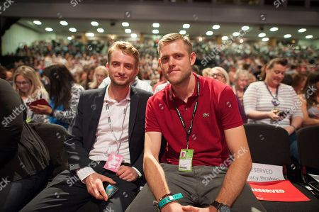 Jeremy Corbyn's Speech On The Final Day Of Labour Party Conference In Brighton. Pic Shows:- Corbyn's Sons Thomas And Ben Corbyn.