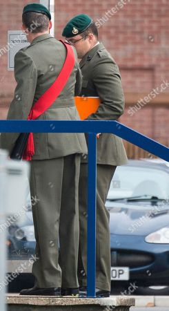 Danny Foster. Royal Marine Corporal Philip Rees Beer 34 (glasses) One Of Three Defendants Appearing At A Court Martial Hearing In Portsmouth Charged With Various Counts Of Ill Treatment Of Subordinates. 26.09.17.