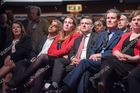 Jeremy Corbyn's Speech On The Final Day Of Labour Party Conference In Brighton. Pic Shows:- London Mayor Sadiq Khan Emily Thornbury Keir Starmer Jonathan Ashworth.
