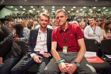 Jeremy Corbyn's Speech On The Final Day Of Labour Party Conference In Brighton. Corbyn's Sons Thomas And Ben Corbyn.