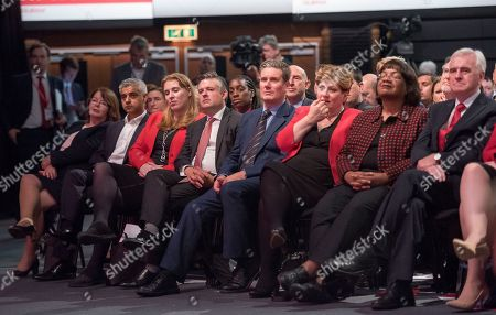 Jeremy Corbyn's Speech On The Final Day Of Labour Party Conference In Brighton. Pic Shows:- London Mayor Sadiq Khan John Mcdonnell Emily Thornbury Dianne Abbott Keir Starmer Jonathan Ashworth.