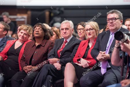 Jeremy Corbyn's Speech On The Final Day Of Labour Party Conference In Brighton. Pic Shows:- Members Of The Shadow Cabinet Including Emily Thornbury Dianne Abbott John Mcdonnell Rebecca Long-bailey And Tom Watson.