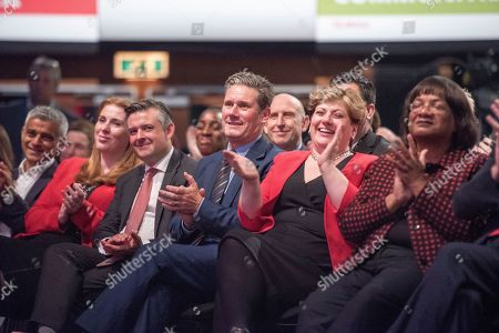 Jeremy Corbyn's Speech On The Final Day Of Labour Party Conference In Brighton. Shadow Cabinet Including London Mayor Sadiq Khan Emily Thornbury Dianne Abbott Keir Starmer And Jonathan Ashworth.