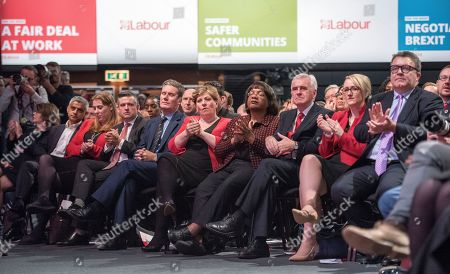 Jeremy Corbyn's Speech On The Final Day Of Labour Party Conference In Brighton. Shadow Cabinet Including Tom Watson John Mcdonnell Emily Thornbury Dianne Abbott Keir Starmer Jonathan Ashworth Rebecca Long-bailey.