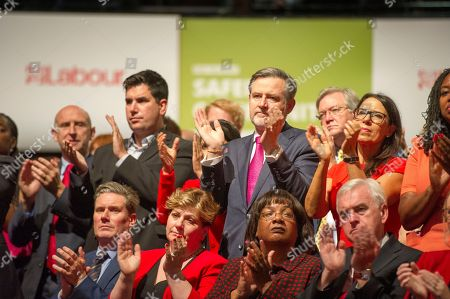 Jeremy Corbyn's Speech On The Final Day Of Labour Party Conference In Brighton. Pic Shows (front Row L-r):- Keir Starmer Emily Thornbury Dianne Abbot And John Mcdonnell.