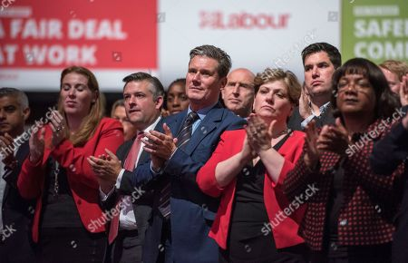 Jeremy Corbyn's Speech On The Final Day Of Labour Party Conference In Brighton. Shadow Cabinet Including Tom Watson John Mcdonnell Emily Thornbury Dianne Abbott Keir Starmer Jonathan Ashworth Rebecca Long-baily.
