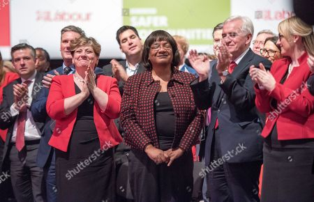 Jeremy Corbyn's Speech On The Final Day Of Labour Party Conference In Brighton. Shadow Cabinet Including John Mcdonnell Emily Thornbury Dianne Abbott Keir Starmer Jonathan Ashworth Rebecca Long-bailey.