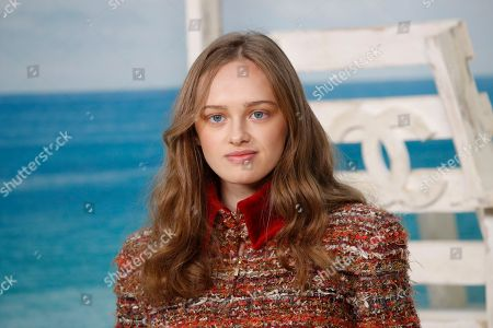 Lily Taieb poses during a photocall before the presentation of Chanel Spring/Summer 2019 ready-to-wear fashion collection in Paris, Tuesday, Oct.2, 2018