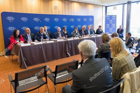 From L-R Lilyana Pavlova, Minister for the Bulgarian Presidency of the Council of the European Union 2018, Mevlut Cavusoglu, Minister of Foreign Affairs of Turkey, Hashim Thaci, President of the Republic of Kosovo, Borut Pahor, President of Slovenia, Klaus Schwab, Founder and Executive Chairman of World Economic Forum, Andrej Plenkovic, Prime Minister of Croatia, Ana Brnabic, Prime Minister of Serbia, Edi Rama, Prime Minister of Albania, Borge Brende, executive chairman of the World Economic Forum, Zoran Pazin, Deputy Prime Minister of Montenegro, Miroslav Lajcak, Minister of Foreign and European Affairs of the Slovak Republic and the President of the 72nd Session of the UN General Assembly during the press conference after Strategic Dialogue on the Western Balkans on 02 October 2018 at the World Economic Forum headquarters in Cologny near Geneva, Switzerland. The World Economic Forum said leaders from Western Balkans committed to strengthen social and economic ties while preparing the region for the future.
