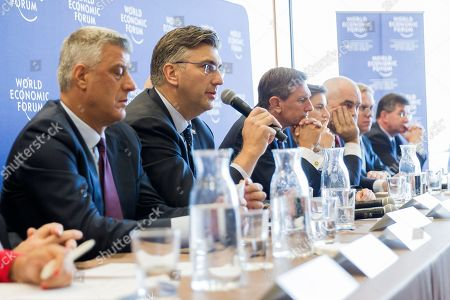From L-R Hashim Thaci, President of the Republic of Kosovo, Borut Pahor, President of Slovenia, Klaus Schwab, Founder and Executive Chairman of World Economic Forum, Andrej Plenkovic, Prime Minister of Croatia, Ana Brnabic, Prime Minister of Serbia, Edi Rama, Prime Minister of Albania, Borge Brende, President of management board of the World Economic Forum, Zoran Pazin, Deputy Prime Minister of Montenegro, Miroslav Lajcak, Minister of Foreign and European Affairs of the Slovak Republic and the President of the 72nd Session of the UN General Assembly during the press conference after the Strategic Dialogue on the Western Balkans on 02 October 2018 at the World Economic Forum headquarters in Cologny near Geneva, Switzerland. The World Economic Forum said leaders from Western Balkans committed to strengthen social and economic ties while preparing the region for the future.