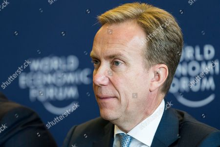 Borge Brende, President of the management board of the World Economic Forum speaks during the press conference after Strategic Dialogue on the Western Balkans on 02 October 2018 at the World Economic Forum headquarters in Cologny near Geneva, Switzerland. The World Economic Forum said leaders from Western Balkans committed to strengthen social and economic ties while preparing the region for the future.