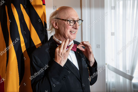 German comedian Otto Waalkes (L) poses for the cameras after the Order of Merit ceremony at Bellevue Palace in Berlin, Germany, 02 October 2018. The Order of Merit of the Federal Republic of Germany is awarded by the President to honour achievements of particular value to society.