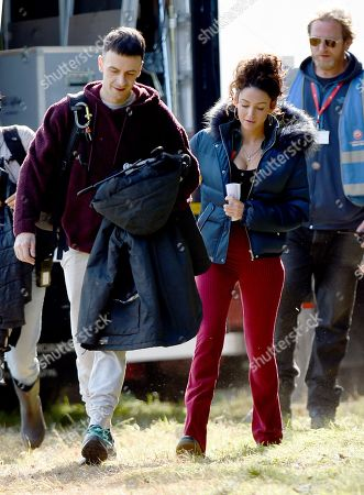 Michelle Keegan wears skin tight flares as she arrives to film Brassic the new Sky tv drama with Joseph Gilgun.