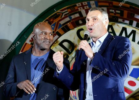 Evander Holyfield, Vitali Klitschko. Former heavyweight champion Evander Holyfield, left, and former heavyweight champion, now Kiev Mayor Vitali Klitschko attend an event during the 56th Convention of the World Boxing Council (WBC), in Kiev, Ukraine