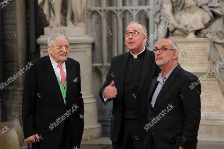 Artist David Hockney with The Very Reverend John Hall and Alan Yentob at Westminster Abbey.