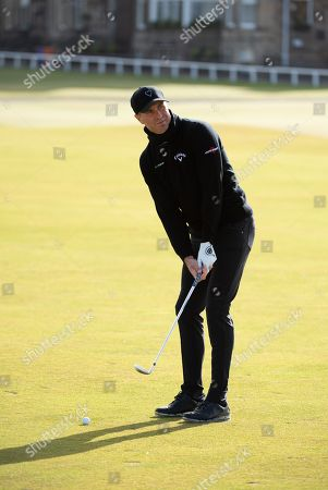 Michael Vaughan on practice day at The Old Course.