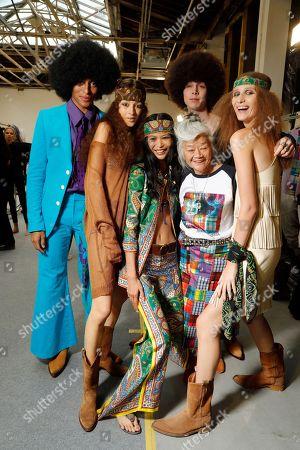 Junko Shimada and models backstage