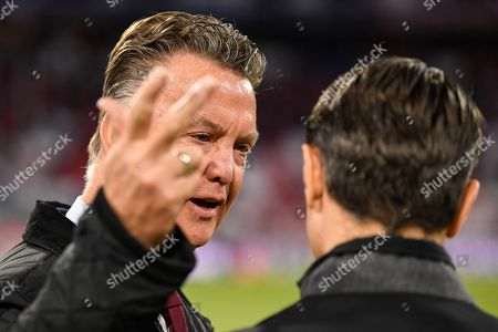 Former head coach of Bayern Munich Louis Van Gaal (L) and head coach Niko Kovac of Bayern Munich (R) ahead of the UEFA Champions League Group E soccer match between Bayern Munich and Ajax Amsterdam in Munich, Germany, 02 October 2018.