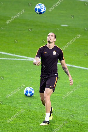 Galatasaray's Maicon attends a training session at Dragao stadium in Porto, Portugal, 02 October 2018. Galatasaray will face FC Porto in their UEFA Champions League Group D soccer match on 03 October 2018.