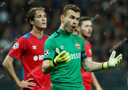 Igor Akinfeev (R) goalkeeper of PFC CSKA reacts during the UEFA Champions League group G soccer match between PFC CSKA Moskva and Real Madrid CF at the Luzhniki stadium in Moscow, Russia, 02 October 2018.