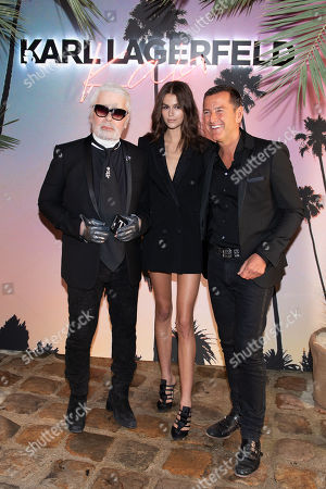 Karl Lagerfeld (L), Kaia Gerber (C) and Pier Paolo Righi (R) celebrate the launch of the Karl x Kaia collaboration capsule collection during the Paris Fashion Week, in Paris, France, 02 October 2018. The presentation of the Women's collections runs from 24 September to 02 October 2018.